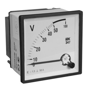 Вольтметр аналоговый Э47 100В класс точности 1,5 72х72мм IEK