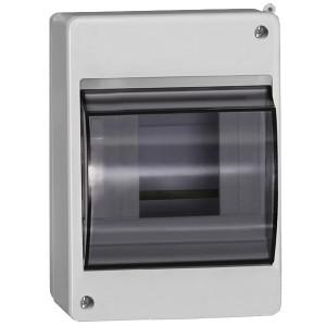 Бокс КМПн 2/4 на 4 модуля накладной пластиковый с прозрачной дверкой ИЭК