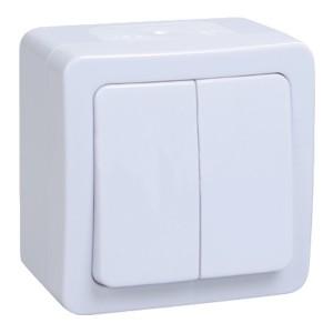Выключатель 2-клавишный IP54 белый ГЕРМЕС PLUS ВС20-2-0-ГПБ ИЭК