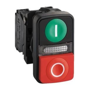 Двойная кнопка Schneider Electric XB5AW73731M5 с маркировкой, с подсветкой 22мм 240В