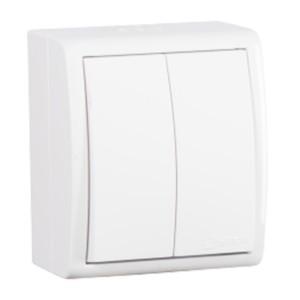 Выключатель двухклавишный Simon 15 Aqua IP54 10А 250В белый