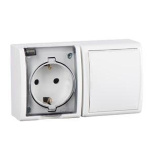 Блок розетка 2P+E 16А 250В + выключатель 10А 250В Simon 15 Aqua IP54 белый
