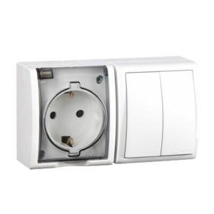Блок розетка 2P+E 16А 250В + двухклавишный выключатель 10А 250В Simon 15 Aqua IP54 белый