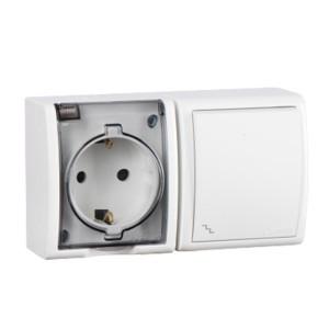 Блок розетка 2P+E 16А 250В + проходной выключатель 10А 250В Simon 15 Aqua IP54 белый