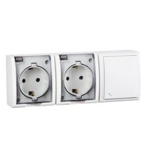 Блок розетка двойная 2х2P+E 16А 250В + проходной выключатель 10А 250В Simon 15 Aqua IP54 белый