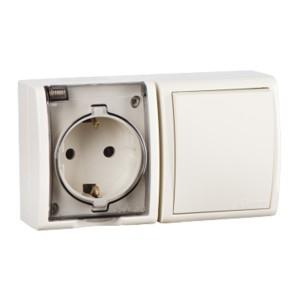 Блок розетка 2P+E 16А 250В + выключатель 10А 250В Simon 15 Aqua IP54 слоновая кость