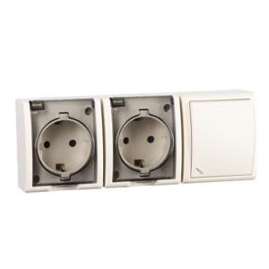 Блок розетка двойная 2х2P+E 16А 250В + проходной выключатель 10А 250В Simon 15 Aqua IP54 слон. кость