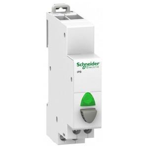Кнопка iPB Acti 9 Schneider Electric серая+зеленый индикатор 1 полюс 1НО 20А 110-230В 1 модуль