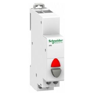 Кнопка iPB Acti 9 Schneider Electric серая+красный индикатор 1 полюс 1НЗ 20А 110-230В 1 модуль