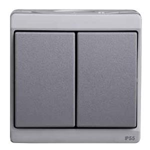 Двухклавишный выключатель IP55 накладной монтаж Mureva Schneider Electric серый