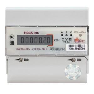Счетчик трехфазный однотарифный НЕВА 306 1S0 5(100)А 380В ЖКИ на DIN-рейку 7 модулей