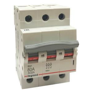 Рубильник модульный Legrand RX3 3П 80А выключатель-разъединитель