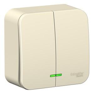 Выключатель 2-клавишный с подсветкой Blanca Schneider Electric 10А 250В молочный