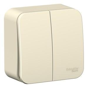 Выключатель 2-клавишный Blanca Schneider Electric 6А 250В молочный изол.пластина