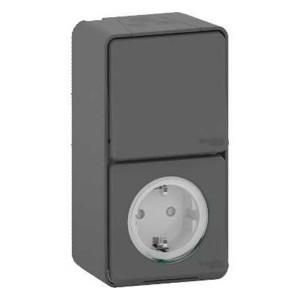 Блок розетка с крышкой + переключатель IP55 накладной монтаж Mureva Styl Schneider Electric Антрацит