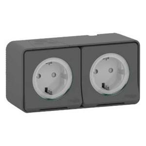 Блок из двух розеток с крышкой IP55 накладной монтаж Mureva Styl Schneider Electric Антрацит