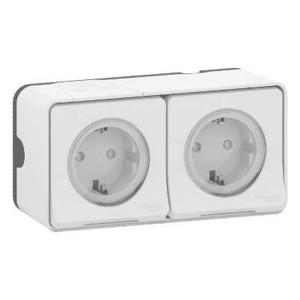 Блок из двух розеток с крышкой IP55 накладной монтаж Mureva Styl Schneider Electric Белый