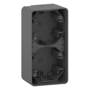 Коробка вертикальная 2 поста накладного монтажа Mureva Styl IP55 Schneider Electric Антрацит