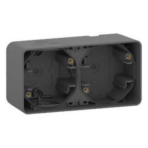 Коробка горизонтальная 2 поста накладного монтажа Mureva Styl IP55 Schneider Electric Антрацит