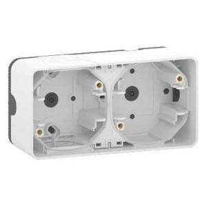 Коробка горизонтальная 2 поста накладного монтажа Mureva Styl IP55 Schneider Electric Белый