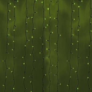 Гирлянда Светодиодный Дождь 2x6м 1140LED зеленый IP44 постоянное свечение, черный провод, 230В