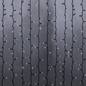 Гирлянда Светодиодный Дождь 2x6м 1500LED белый IP44 эффект водопада, черный провод, 230В
