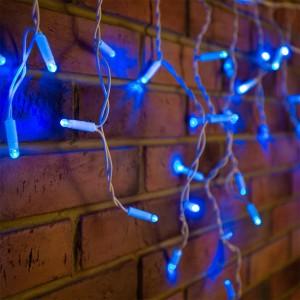 Гирлянда бахрома светодиодная 2,4х0,6м 76LED синий IP44, постоянное свечение,белый провод