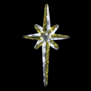 Фигура Звезда 8-ми конечная, LED подсветка, высота 180см, бело-золотая