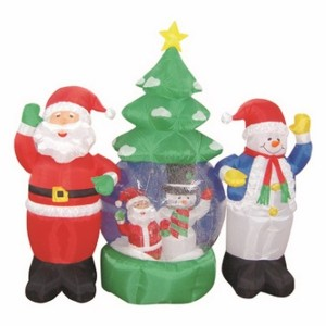3D фигура надувная Дед Мороз и Снеговик высота 210см, диаметр шара 120см, 4LED подсветка