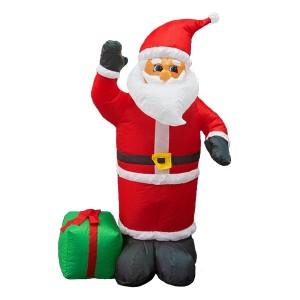 3D фигура надувная Дед Мороз с подарком 120см, 3LED подсветка, трансформатор 12V и компрессор