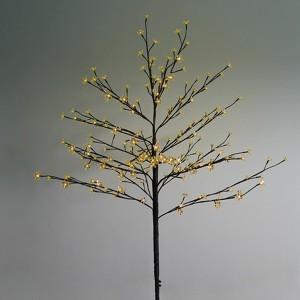 Дерево комнатное Сакура коричневый ствол и ветки L1.2m 80LED желтый, трансформатор в комплекте
