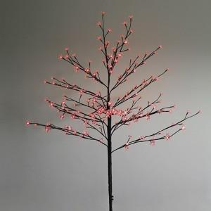Дерево комнатное Сакура коричневый ствол и ветки L1.2m 80LED красный, трансформатор в комплекте