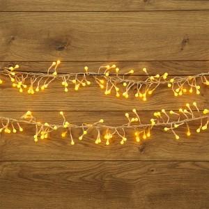 Гирлянда Мишура LED 3 м прозрачный ПВХ, 288LED 230V цвет желтый