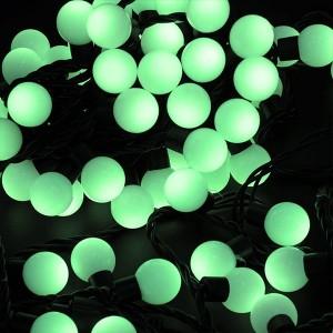 Гирлянда Мультишарики D17,5мм, 20м, черный ПВХ, 200LED, цвет зеленый, IP65 24V