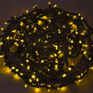 Гирлянда Твинкл Лайт 20м, черный КАУЧУК, 240LED, 230V IP67 цвет желтый