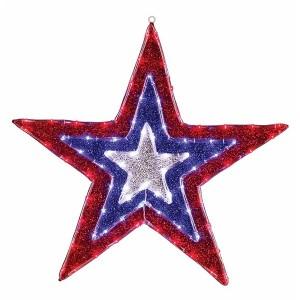 Фигура Звезда бархатная 129LED с постоянным свечением красного/голубого/белого цвета 91см, IP65
