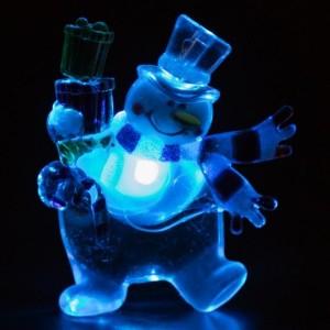 Снеговик с подарком RGB на присоске