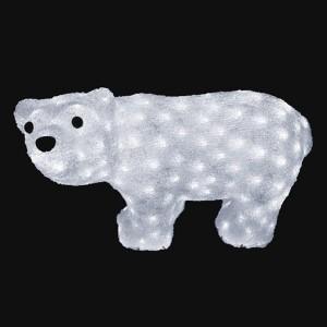 Акриловая светодиодная фигура Белый мишка 20LED 15х25см Питание от 3AA (не входят в комплект)
