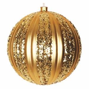 Елочная фигура Полосатый шар, 20 см, цвет золотой