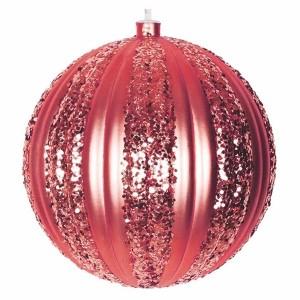Елочная фигура Полосатый шар, 20 см, цвет красный