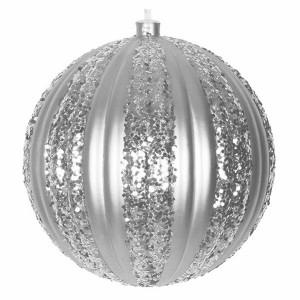 Елочная фигура Полосатый шар, 20 см, цвет серебряный
