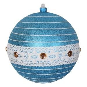 Елочная фигура Шар погремушка 20 см, цвет синий/серебряный