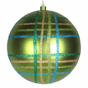 Елочная фигура Шар в клетку 25 см, цвет зеленый мульти