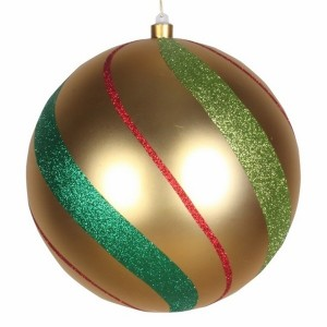 Елочная фигура Шар в полоску 25 см, цвет золотой/зеленый/красный