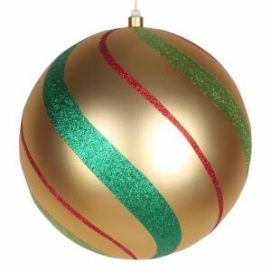 Елочная фигура Шар в полоску 30 см, цвет золотой/зеленый/красный