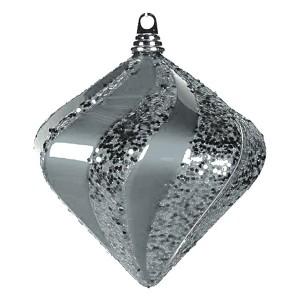Елочная фигура Алмаз, 20 см, цвет серебряный