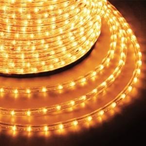 Светодиодный дюралайт 2W желтый 24 LED/1,6Вт/м, постоянное свечение, D13мм, бухта 100м