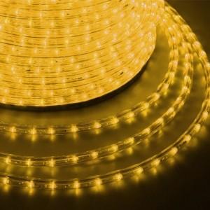 Светодиодный дюралайт 3W желтый 24 LED/1,6Вт/м, свечение с динамикой, D13мм, бухта 100м