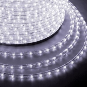 Светодиодный дюралайт 3W белый 24 LED/1,6Вт/м, свечение с динамикой, D13мм, бухта 100м