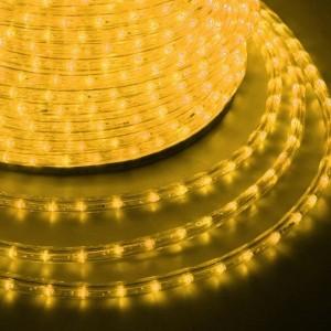 Светодиодный дюралайт 2W желтый 36 LED/2,4Вт/м, эффект мерцания, D13мм, бухта 100м